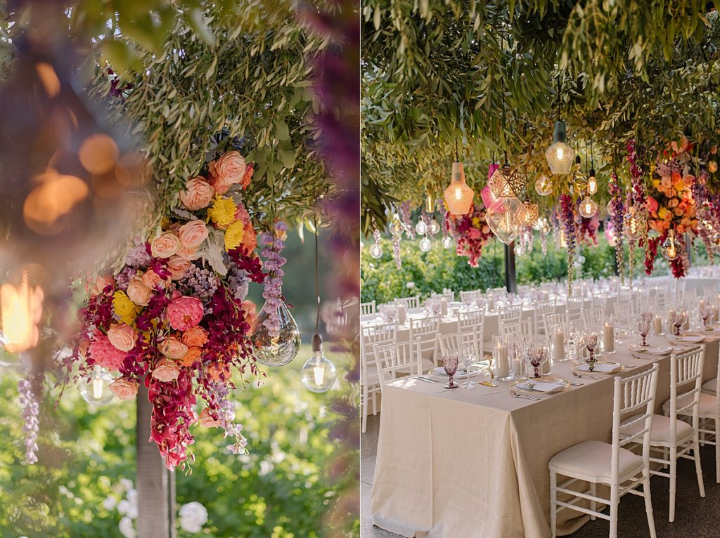 bright flowers, greenery and suspended lighting