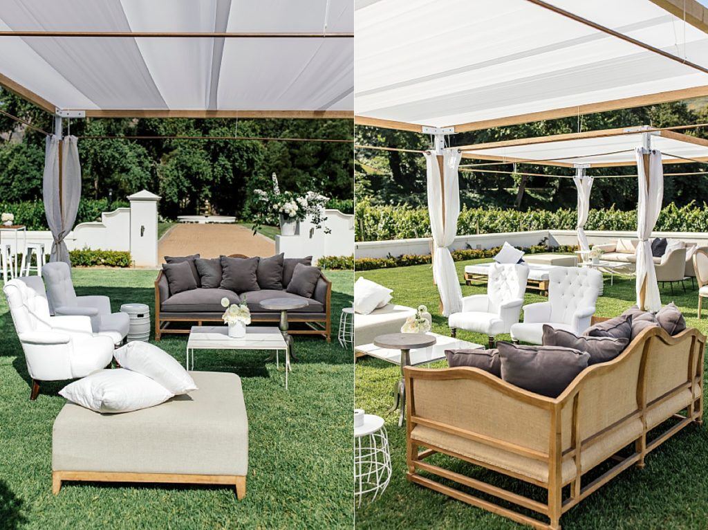 Pre-drinks lounge furniture under shaded cabana