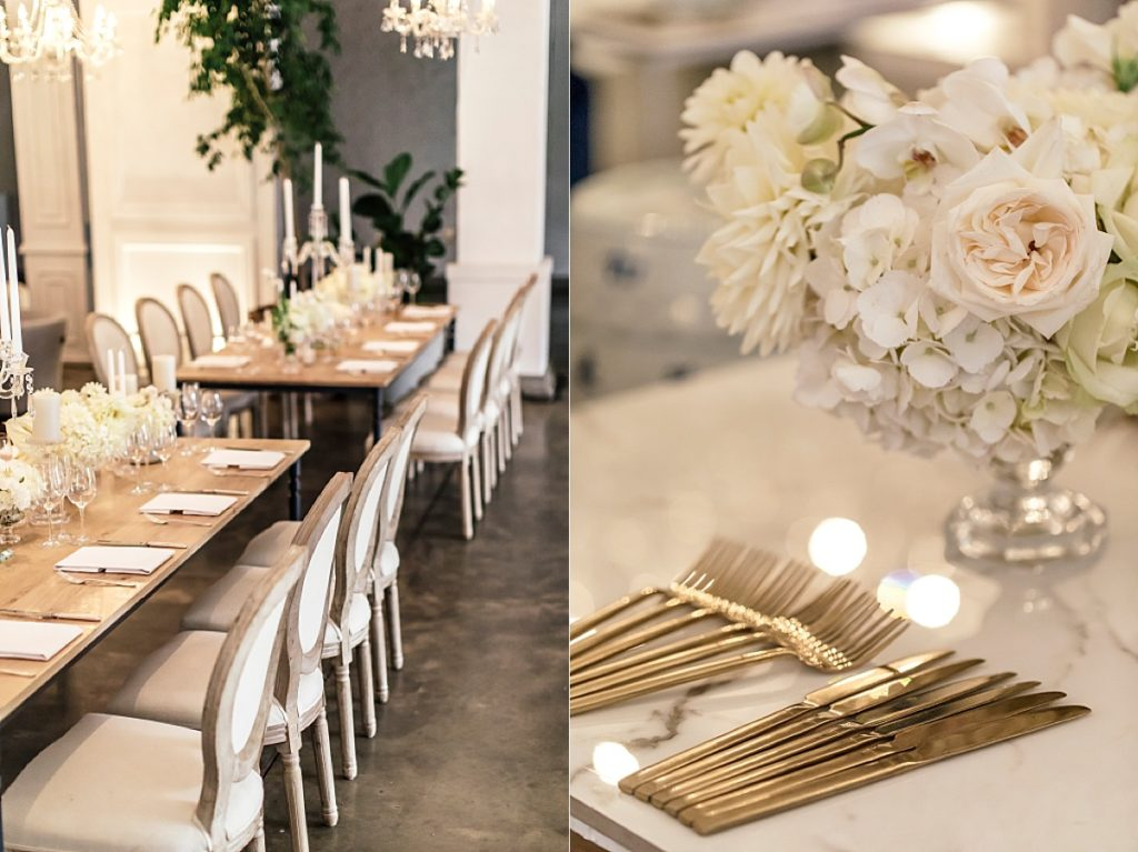 Reception setting and white florals